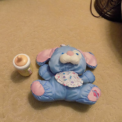 "9"" Fisher Price 1999 Puffalump Care For Me Blue Puppy Dog w/ sounds Baby Bottle"