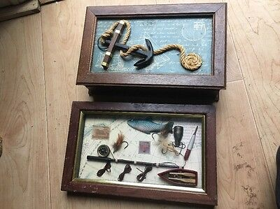 Vintage Nautical Shadow Box And Jewelry Box Fishing Man Cave Anchor Wooden