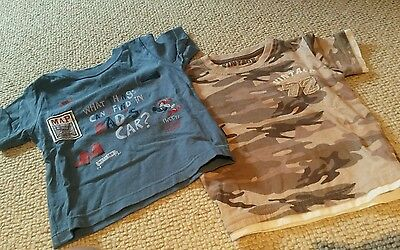 2 x Baby boy blue dad's car & camouflage t shirt. Mothercare 12-18m. Ex con.