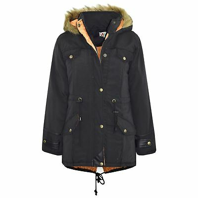 Kids Jacket DESIGNER'S Black Parka Coat Faux Fur School Hooded Top 3-13 Years