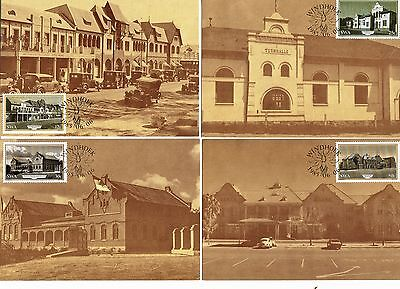 South Africa -1985 set of 4 first day stamps on postcards - Historic Buildings