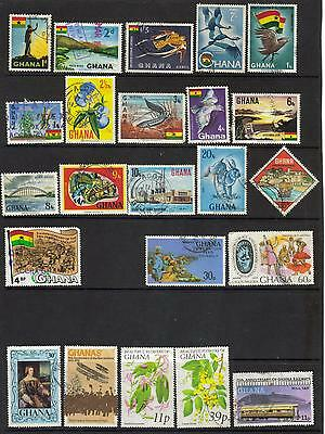 Ghana from 1959 -collection of 33 stamps mint & used on 2 pages