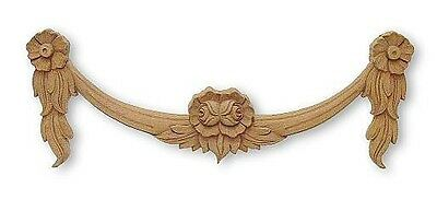 """Wood Trim Gingerbread Applique Onlay Swag Flowers Buds Leaves 16"""" x 6"""" x 1-1/2"""""""