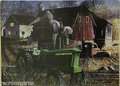 JOHN DEERE Metal Sign Tractor farm art print nature pheasant barn vintage