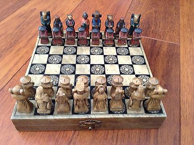 Vintage Oriental Hand Carved & Painted Marble Chess Set - Hinged Lid Board
