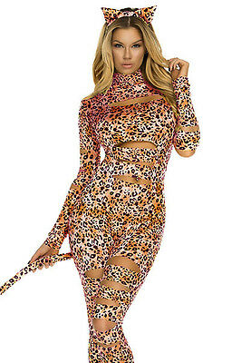 Costume Halloween Womens Sexy Leopard Catsuit Jumpsuit Slashed Fancy Dress M New