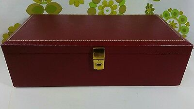 Large Vintage Burgundy Faux Leather Jewellery Box Tallent of Old Bond Street(10)