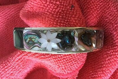 Lovely Vintage Abalone & Mother Of Pearl Cuff Bracelet Marked Good Condition
