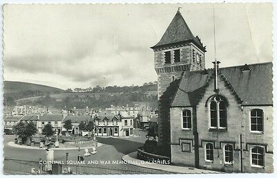 Vintage Postcard.RP.Cornmill Square & War Memorial,Galashiels Used1968. Ref:6129