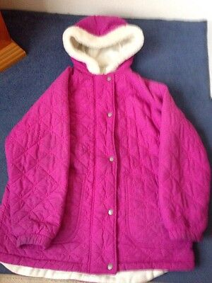 M&S Girls Pink Quilted Fleece Lined Coat Age 11-12 Years