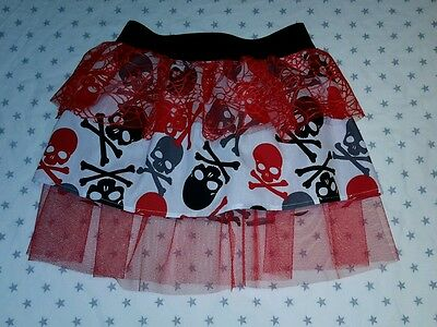 New Girls Halloween Tutu Skirt. Age 6-9. Fancy Dress Spiderweb Skull & Crossbone