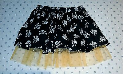 New Girls Halloween Skull & Crossbones Net Tutu Skirt. Age 7-10. Fancy Dress.