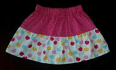 New Girls Funky Cherries & Polkadot Frilly Skirt. Quirky Unique. Age 4-7 Kitsch.