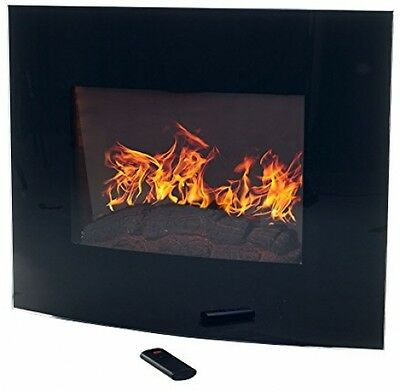 Fireplace Wall Mount Electric Adjustable Curved Glass RemoteTempered Black