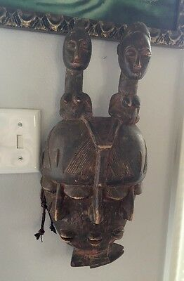 Vtg African Tribal Carved Fertility Figure Sculpture Mask 3 Faces, Boobs, Fish