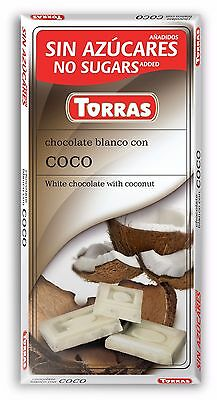 Torras No Added Sugar free White Chocolate with Coconut Bar 75 g (Diabetic)