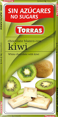 Torras No Added Sugar free White Chocolate with Kiwi Bar 75 g  (Diabetic)