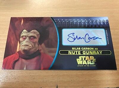 Star Wars Attack Of The Clones 3D Widevision Gold Autograph Silas Carson 01/10