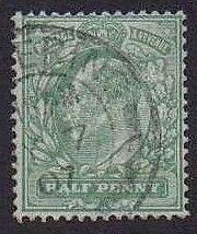 1902 KE7 Fine Used SG218 1/2d Yellow-green Lovely Condition