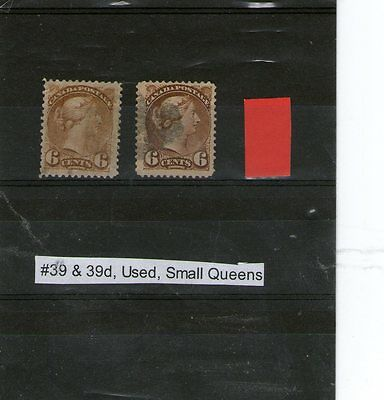 Qv Canada Used Stamps Six Cents Shades Scott Catalogued