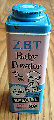 Vintage ZBT Baby Powder w/ Olive Oil Full Tin Never Used 12.5 Ounces Graphics