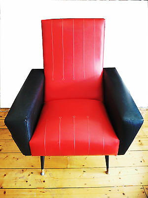 Vintage 1950's Space Age Club Cocktail Leather Chair Armchair Retro with Ashtray