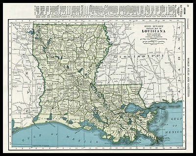 LOUISIANA U.S. State New Orleans 1946 antique color lithograph Map