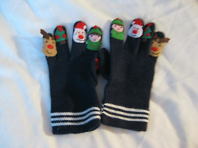 Navy Knitted Christmas Themed Gloves - Approx Age 6 Yrs
