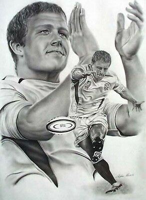 Johnny Wilkinson black & white rugby image - art poster print - Stephen Khamis