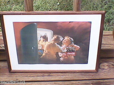Coca-Cola Art Print-1950's Two Kids in Refrigerator Framed