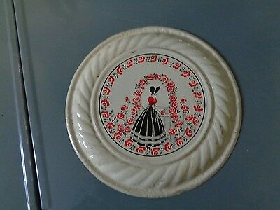 Vintage Stove Pipe Chimney Flue Cover~Lady W/Bonnet In Rose Garden