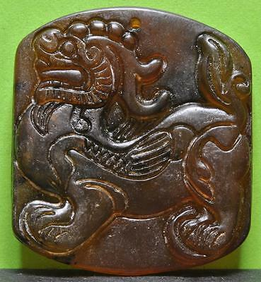 Antique Chinese Amulet With Dragon Hand Carved In Old Jade - J139