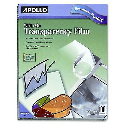 Apollo Write-On Transparency Film 8.5 x 11 Inches Clear 100 Sheets per Box NEW