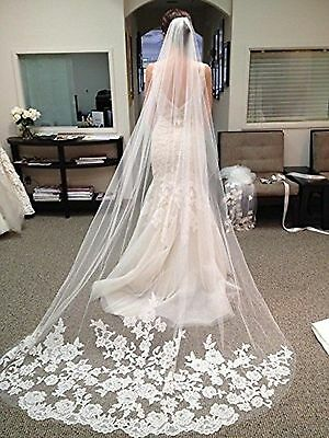 WAJY White Lace Edge Cathedral Length Wedding Bridal Veil+Comb NEW FREE SHIPPING