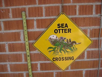"Vintage 12"" x 12"" Metal Decor Sign ***   SEA OTTER CROSSING   *** by Crosswalks"