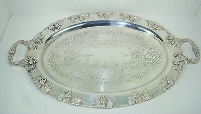Antique Vintage CRESCENT Silver Plated on Copper Grape Leaf Vines Oval Tray