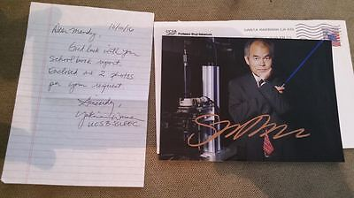 Shuji Nakamura Authentic Hand Signed 5X7  Photo with Note & Package,Noble Prize