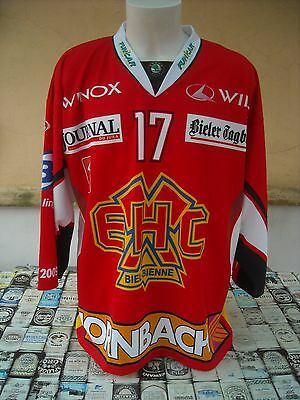 Maglia Hockey Ehc Biel Bienne #17 Ling Wuthrich Shirt Maillot Trikot Jersey