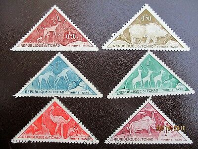 Tchad 1962 Rare Triangle Tax Stamps Nice Set Selection Six Chad Stamps.
