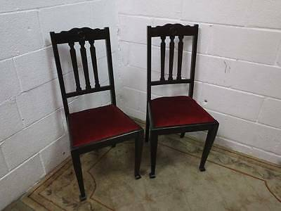 2 x 1920's DARK STAINED OAK DINING CHAIRS, With Red Velvet Material Covers