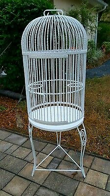 Vintage Large Ornate  Wrought Iron Bird Cage On Stand French Victorian Style