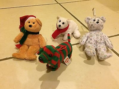 TY CHRISTMAS BEANIE BABY JINGLES LOT 4: STRIPES Coldy BEGINNING 2001 Ornaments