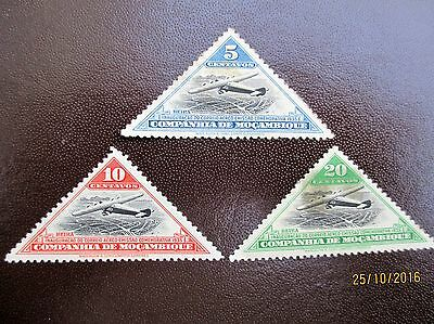 Company Of Mocambique 3 Triangle Stamps Inaugaration Of Air Mail Flights