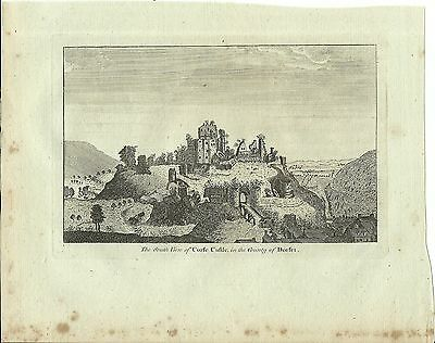Antique Print Of The South View Of Corfe Castle County Of Dorset Sparrow C1780
