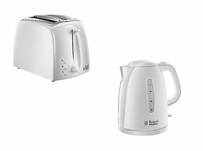 Russell Hobbs Textures Kettle And 2 Slice Toaster Set In White