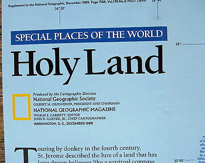 Holy Land  National Geographic Map / Poster Dec 1989