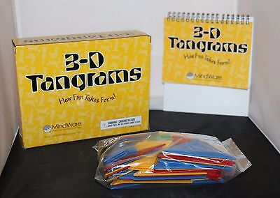 MindWare 3-D Tangrams Book and Tangrams Different Colors Shapes & Sizes VGC