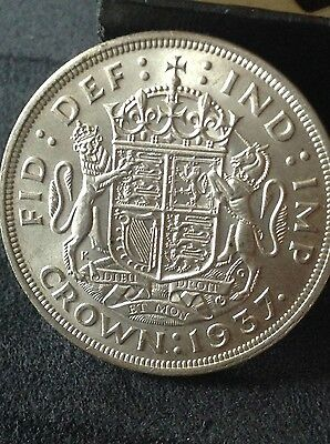 1937 George 6th, AUNC silver crown, 5/-, five shilling coin. Free uk P&P