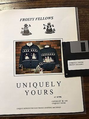 1996 Uniquely Yours FROSTY FELLOWS Pattern w/Disk Brother Knitting Machine
