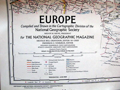 Europe   - National Geographic Map / Poster June  1969